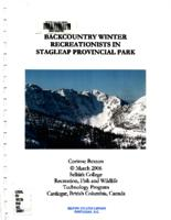 Backcountry Winter Recreationists in Stagleap Provincial Park